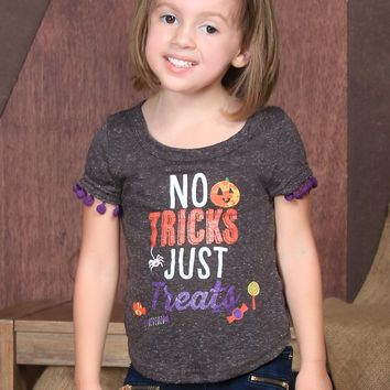 Southern Grace  Girls' No Tricks Just Treats Charcoal Tee with Pom Trim Halloween