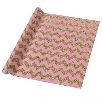 Gold Glitter Chevron Pattern on Pink Wrapping Paper