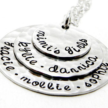 Personalized Necklace for Mom - Hand Stamped Sterling Silver - Layers of Love