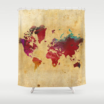 World Map Shower Curtain by Danielle Rose Fisher