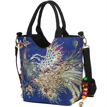 Dark Blue Women Canvas Shoulder Bag Peacock Embroidery Handbag Stylish Tote Bags Casual Cross-body Bag, Decorative Pendants
