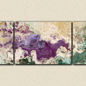 "Extra large abstract art triptych giclee canvas print, in purple and teal, ""Plum Creek"", 30x72 to 40x90"
