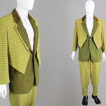 Vintage KANSAI YAMAMOTO 80s Mens Tweed Suit Made in Japan Unisex Suit Androgynous Suit Oversized Jacket Small Pants Mens Designer Suit 1980s