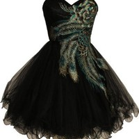 Fiesta Formals Metallic Short Peacock Prom Homecoming Bridesmaids Cocktail Dress - Black - XL
