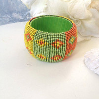 Large handcrafted vintage beads bangle