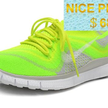 2018 Real Womens Nike Free Flyknit+ 5 Volt Electric Green Wolf Grey sneaker