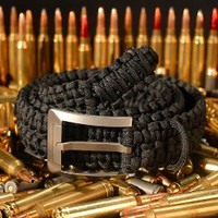 Survival Paracord Belt - RattlerStrap 550 Double Cobra Weave with Titanium Belt Buckle - American Made - Camo, Black, Brown