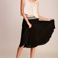 Women Light Knit Jersey Pleated Knee Length A-Line Accordion Midi Skirt Career