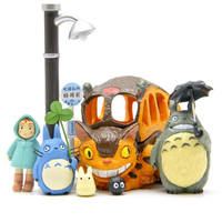 8pcs/lot Totoro figures toys 2016 New PVC Japanese Anime Satsuki Mei  Jicha car Chinchilla cat  bus