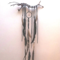 Black Bohemian Dream Altar //  OAK black quartz dream catcher // boho, home decor, one of a kind, dreamcatcher, gift, spirit trib