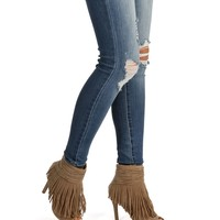 Natural Fringe Waterfall Heel Booties