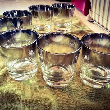 Vintage 1960's Mid century Mad Men Silver Ombre Lusterware Glasses Whiskey Tumblers Scotch Glasses Barware Set