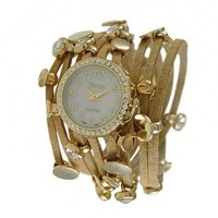 Geneva Platinum 12956512 Designer Inspired Women's Rhinestone Multi-strand Wrap-around Watch-TAN