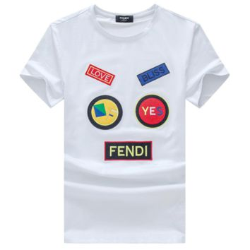 Fendi Summer new men and women short-sleeved t-shirt casual top White
