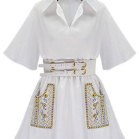 White Embroidery Lapel Short Sleeve  Summer Shirt Dress with Belt