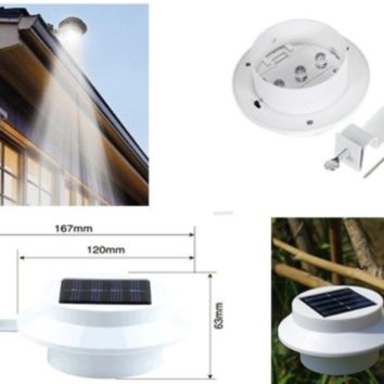 3 LED Solar Powered Outdoor Lamp Light For Gutter Fence Garden Yard