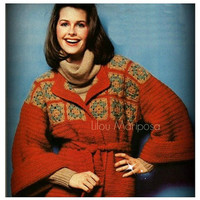 Crochet CARDIGAN Pattern Vintage 70s Crochet Granny Square Crochet Sweater Pattern Crochet Jacket Pattern INSTANT DOWNLOAD
