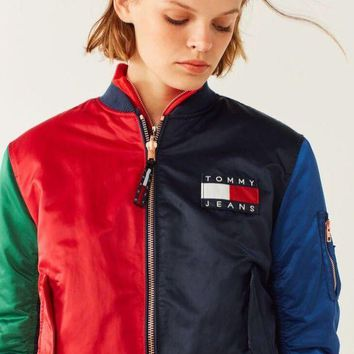 PEAPON  Tommy Hilfiger ' Fashion  Hit color Two sides wear With velvet Coat