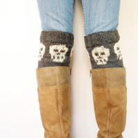 Hand Knit Leg Warmers, Skull Halloween Accessory,  Boot Cuffs, , Wool Boot Topper, Shoe Accessory, Boot Sock