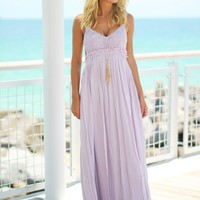 Lavender Lace Maxi Dress with Open Back and Frayed Hem