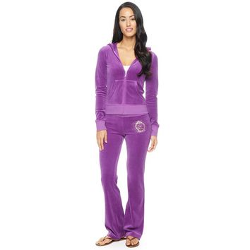 Juicy Couture Studded Logo Bright Crown Velour Tracksuit 6128 2pcs Women Suits Purple