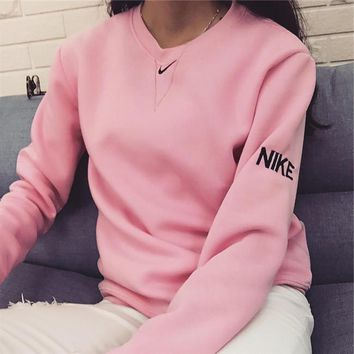 nike fashion knit logo pullover tops sweater sweatshirts