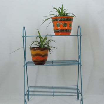 Mid Century Modern Metal Wire Shelf, MCM Plant Stand, Vintage Blue Shelf, Sixties Metal Rack, Mid Century Plant Stand
