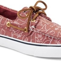 Sperry Top-Sider Bahama Critter Print 2-Eye Boat Shoe WashedRedWhaleCritter, Size 12M  Women's Shoes