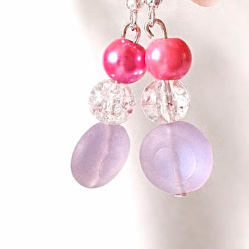 Pink crackled glass pearl style hook earrings custom made wedding gift woman party
