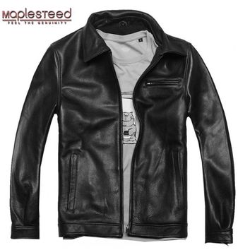 Factory Men Leather Jackets Real Genuine Cowhide Brand Plus size Man's Motorcycle Bike