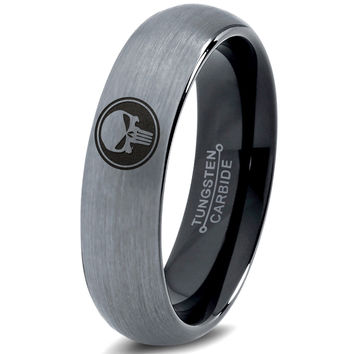 Punisher Inspired Silver Black Dome Tungsten Ring