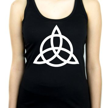Triquetra Ancient Celtic Protection Symbol Women's Racer Back Tank Top Shirt Occult Clothing