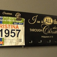 Running Bib Holder, Running Medal Holder, Racing Medal Holder, Bib Holder, Bib Hanger, Racing Bib Holder, I can do all things through Christ