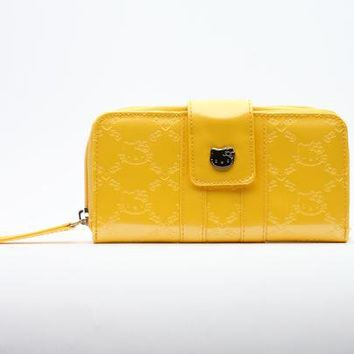 Hello Kitty Yellow Long Wallet: Embossed