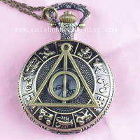 Zodic and Harry Potter Deathly Hollows Pocket Watch necklace,Golden Dial Pocket Watch necklace