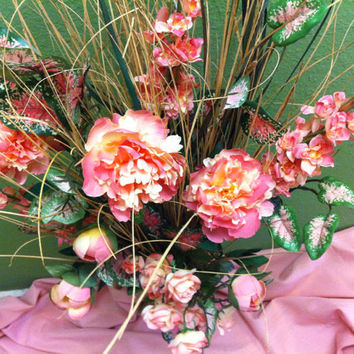 Handmade Artificial Floral Arrangement:  Long stemed pinks & whites  artificial floral.  nessled in straw -like wooden accents