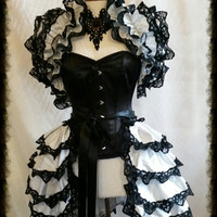 GOTHIC ICE  Dupion Costume Bustle Skirt  and Shrug SET Gothic Ghost