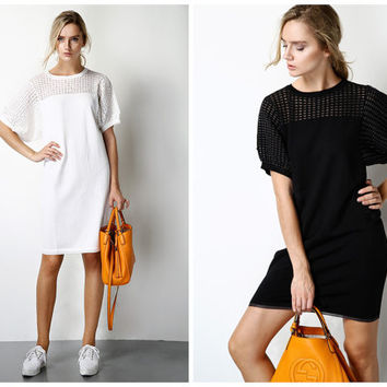 white dress women,half sleeve,cut out at shoulder and sleeve,short length,casual,minimalist,fashion,chic,mod,for summer.--E0214