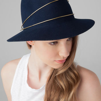 Janessa Leone George Fedora in Navy Wool Felt