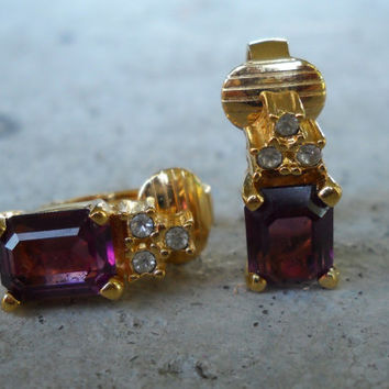 CHRISTIAN DIOR 1980s-90s Rhinestone Earrings