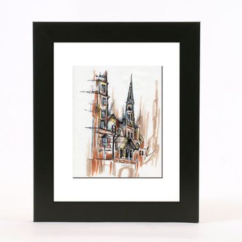 cathedral line drawing with pen and colored ink 8x10 abstract wall art print
