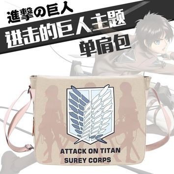 Cool Attack on Titan  Wings of Liberty fashion canvas Double Shoulder Bag Cosplay Printing single-shoulder bag boy plush Backpack/bag AT_90_11