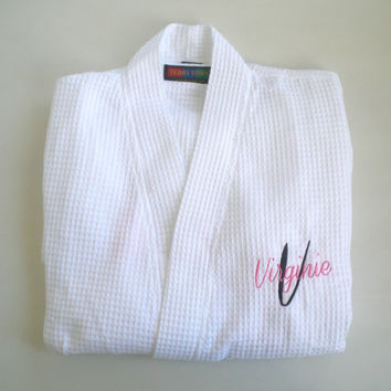 Waffle Weave Robes Personalized Layered Embroidery Maid Of Honor, Bridesmaids Wedding Party Gifts