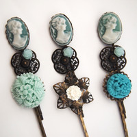 glamasaurus — Teal Lady Hair Pin Set of Three