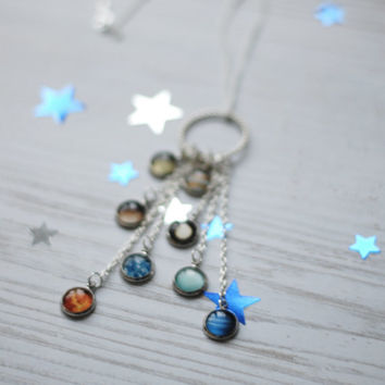 Solar System Necklace Space Inspired Jewelry Planets Aligned Silver Statement Necklace