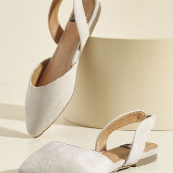 Slingback and Relax Vegan Flat in Ivory | Mod Retro Vintage Flats | ModCloth.com