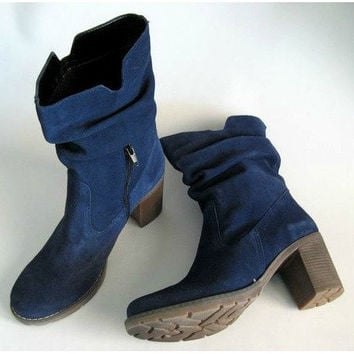Genuine Leather Blue suede boots, womens boots, blue suede womens boots, many colours