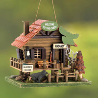 Rustic Woodland Cabin Wilderness Vacation Rental Collectors Village Eucalyptus Wood Birdhouse