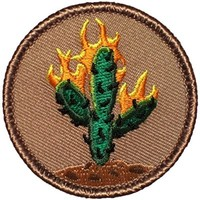 """Burning Cactus Patrol Patch - 2"""" Diameter Round Embroidered Patch"""
