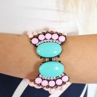 Pink Fan Fringed Bracelet